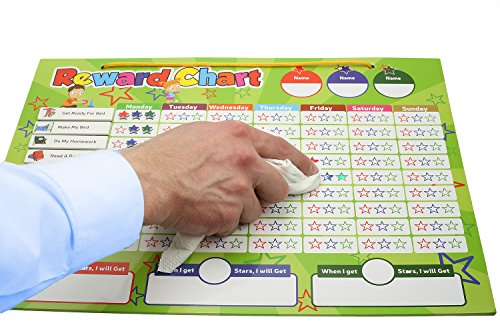Magnetic Reward Chart Set, Includes: 20 Magnetic Chores, 240 Magnetic Stars & 4 Color Dry Erase Markers! Behavior Chart Board Magnetic Backing & Hanging loop for Wall, Rigid board Dry Erasable,16 x 12 by DasKid (Image #3)