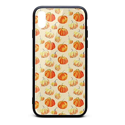 Watercolor Halloween of Pumpkins Phone Case for iPhone X, Slim Protection Art Line Design Cell Phone Protective -