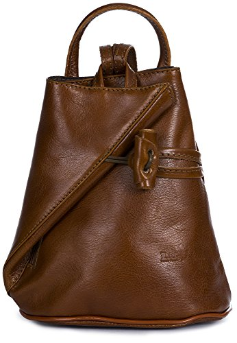 LiaTalia Convertible Strap Italian Leather Backpack Shoulder Bag with Protective Storage Bag - Brady (Large - Medium Tan) by LiaTalia
