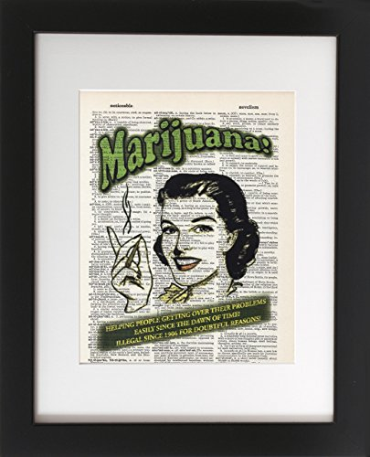 Marijuana Helping People - Vintage Upcycled Dictionary Art Print 8x10 - Unframed - Frame and matting are for presentation purposes only to show you how they can look. Vintage Medical (Gourmet Settings Frame)