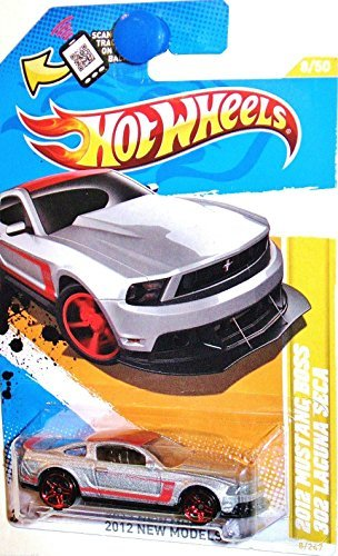 (2012 Hot Wheels New Models 2012 Mustang Boss 302 Laguna Seca Silver/Red Roof #8/247)