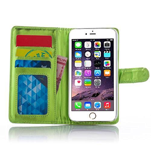 Book Style Design Handy Tasche Karo Metallic mit Visitenkartenfunktion und Strass Herzen Flip Cover Schutz Hülle Schale Klapp Etui Case Modern Bag für Apple Iphone 6 in Grün