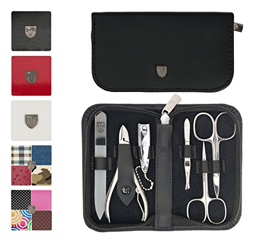 - 3 Swords Germany - brand quality 6 piece manicure pedicure grooming kit set for professional finger & toe nail care scissors clipper genuine leather case in gift box, Made in Solingen Germany (02259)