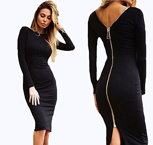 Backless longues Bodycon Noir Slim Femmes Sexy Parti manches Zipper Robe nqwZ6Xxa