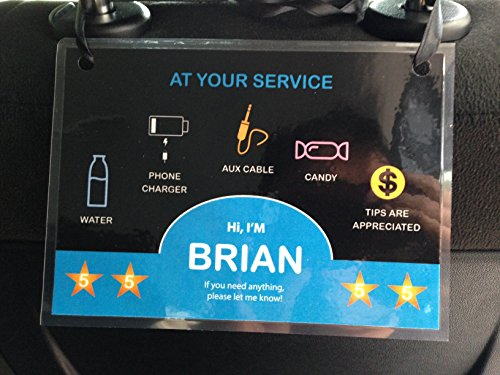 (Set of 2) Uber Lyft 5 Star Ratings Sign Car Display Cards - Custom Messages and Custom Made with Your Name