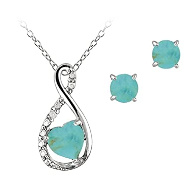 eab675777 Amazon.com: Sterling Silver Simulated Turquoise & Simulated Diamond Swirl Heart  Necklace Earrings Set: Jewelry