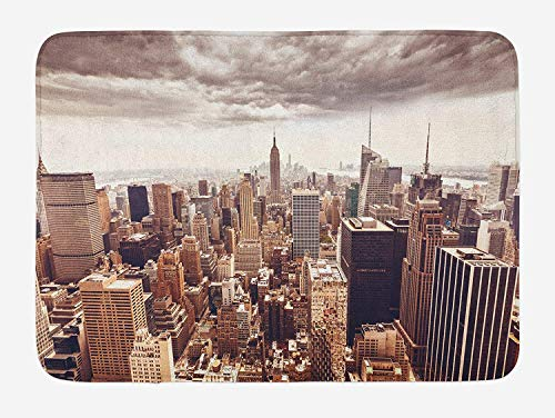(Cities of States Bath Mat, American Metropolitan City Landscape NYC Manhattan Aerial Photography, Plush Bathroom Decor Mat with Non Slip Backing, 23.6 W X 15.7 W Inches, Multicolor)