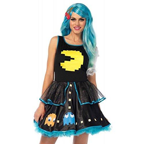 Pac Man Game Dress Woman Halloween Costume, Multicolor, Women LG (Pac Man Halloween Costume)