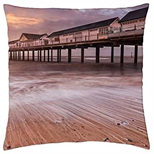 lovely commercial sea pier at dawn - Throw Pillow Cover Case (18
