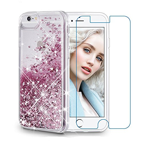 Maxdara iPhone 6 Case, iPhone 6S Case, Glitter Liquid Girls Children Protective Case, Floating Bling Sparkle Quicksand Case for iPhone 6/6s/7/8 4.7 inch [Tempered Glass Screen Protector] (Rosegold)