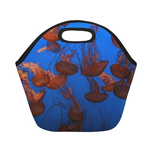 Insulated Neoprene Lunch Bag Jellyfish Aquatic Animal Ocean Underwater Blue Large Size Reusable Thermal Thick Lunch Tote Bags For -lunch Boxes For Outdoors,work, Office, ()
