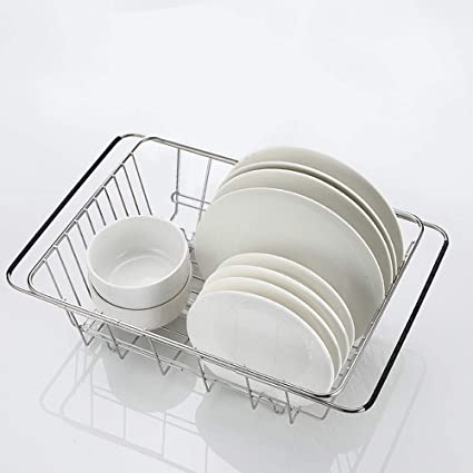 SZUAH Adjustable Over Sink Dish Drying Rack, Expandable Dish Rack, 18/8  Stainless Steel Dish Drainer for Counter top or Sink (13