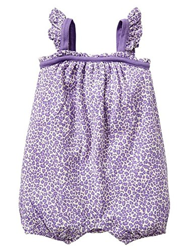Baby Gap Girls Lavender White Leopard Knit Shorts Romper 0-3 - One Baby Piece Gap