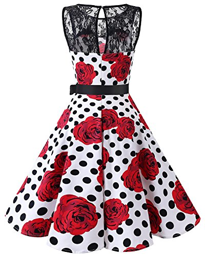 Cocktail Bbonlinedress 50 Black sans Vintage Dot Rose de Robe Manches rtro Hepburn 1950's Audrey Dentelle White Rockabilly Soire anne r8xqwOrTn
