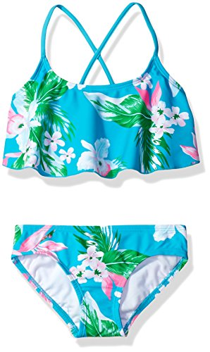 Bright Aqua Apparel - Kanu Surf Little Girls' Alania Flounce Bikini Beach Sport 2-Piece Swimsuit, Floral Aqua, 4