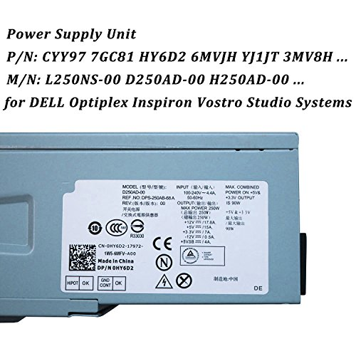 250W L250NS-00 F250AD-00 Power Supply Unit PSU for DELL Optiplex 390 790 990 3010 Inspiron 537s 540s 545s 546s 560s 570s 580s 620s Vostro 200s 220s 230s 260s 400s Studio 540s 537s 560s Slim DT Systems by IMSurQltyPrise (Image #1)