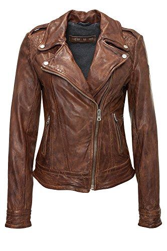 Freaky Nation Damen Stylisch Bikerjacke Lederjacke (XL, Cognac)