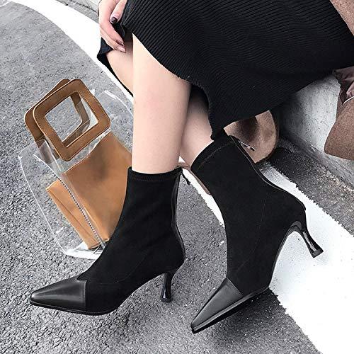 Indoor Cucitura Femminile Heels Lavoro Shopping Outdoor Black Cjjc Girls Data Inverno Regalo Scarpe Thin Fashion Square Wear Stivali Toe Autunno Ladies qSqxgBw