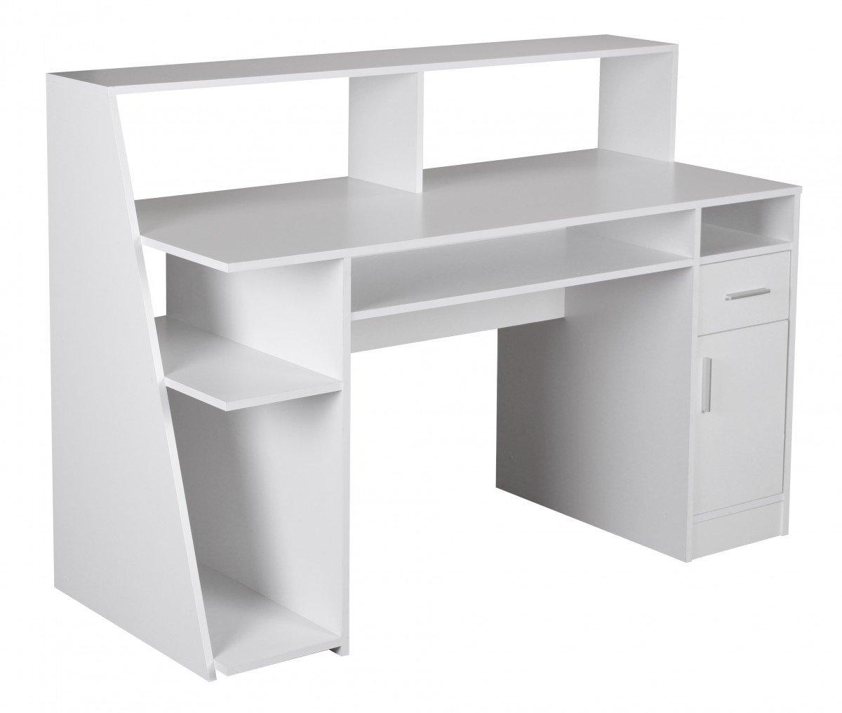 WOHNLING Multifunktion Design Schreibtisch Computertisch Weiß Ablage  Bürotisch Schubladen Mit Regal Kinderschreibtisch Büro Möbel Modern  Büroeinrichtung ...