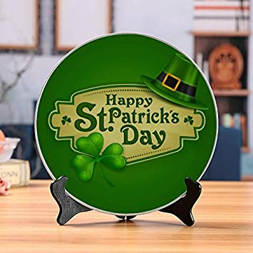 engree Happy St Patrick Day Plate Stand Display Childrens Ceramic Plates Home Wobble-Plate with Display Stand Decoration Household Pretty Ceramic Plates