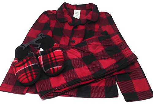 Boy's Red Plaid Pajamas with Matching Slippers. Assorted Sizes (S/CH (Red Plaid Pajamas Kids)