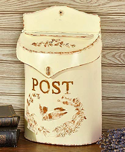 Top_Quality555 Ivory Metal Rustic Mailbox and Post Wall Mount Vintage Look Box Distressed Decor