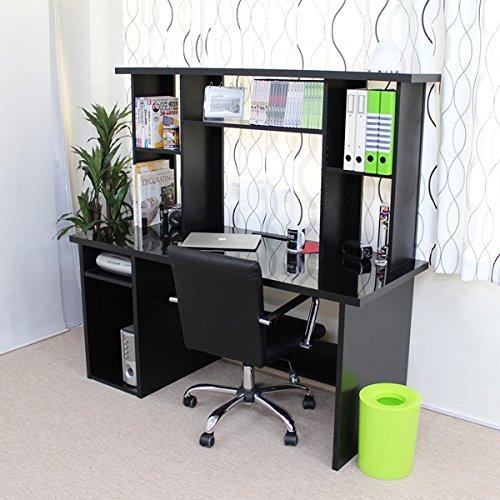 パソコンデスク 書棚付2点セット(チェストなし) 150cm幅 鏡面 ブラック JS147BK J-Supply B079L7K54S