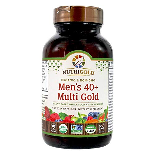NUTRIGOLD Mens 40+ MULTIVITAMIN 90cap (Organic, nonGMO, wholefood Vitamins and Minerals from Real Fruits, Vegetables, and Herbs. Now Includes Astaxanthin