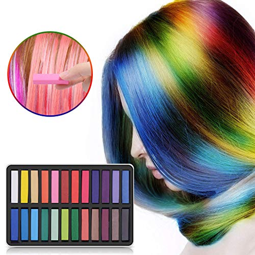 Temporary Hair Chalk Set, Non-Toxic and Washable Hair Chalk Pens, Safe For Kids And Teen - For Party,Cosplay,DIY,Girls Gift,Kids Toy,Birthday Christmas Gifts For Girls(24 Colors) -