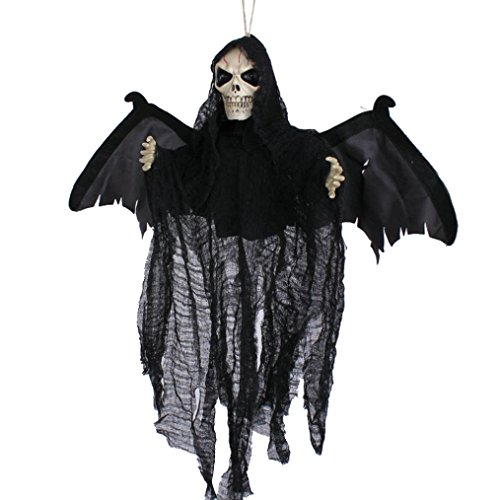 Elevin(TM) New Halloween Party Decoration Sound Control Creepy Scary Animated Skeleton Hanging Ghost (Creepy Witch Costume)