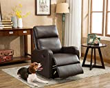 Recliner Chair Contemporary Chocolate Leather Recliner for Modern Living room (Brown)