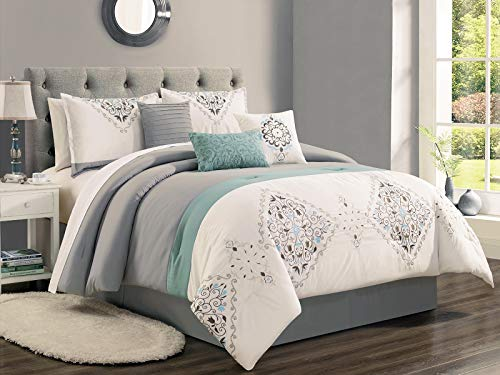 HGS 7-Pc Wynne Floral Scroll Damask Embroidery Stripe Comforter Set Gray Teal Green White (Floral Scroll Stripe)