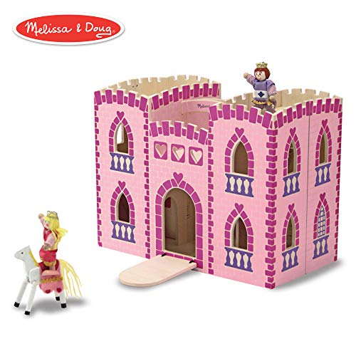 Doug Wooden Castle - Melissa & Doug Fold & Go Wooden Princess Castle (Pretend Play Pink Dollhouse, 2 Royal Play Figures, 2 Horses, Furniture)