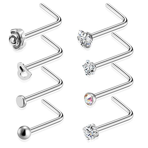 Tornito 20G 8Pcs Stainless Steel L Shaped Nose Ring CZ Nose Stud Retainer Labret Nose Piercing Jewelry