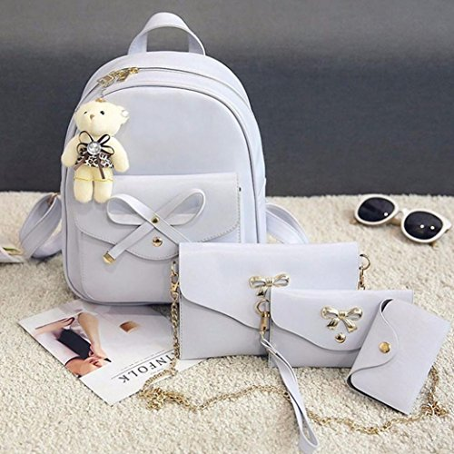 HandBag Bow 4Pcs TOOPOOT Women Shoulder Bag Backpack Bag Shoulder Vintage Gray Package Lady Leather Knot Card wq0zFIqUr