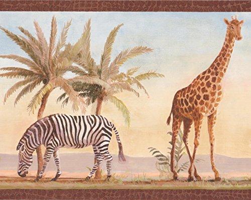 - Tiger Zebra Giraffe Palm Trees Jungle Wallpaper Border Retro Design, Roll 15' x 9''