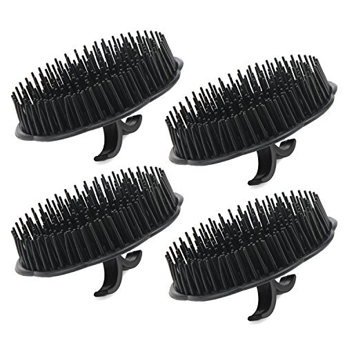(4pcs Scalp Massager Shampoo Brush, Segbeauty Massage Hair Brush Floriated Shower Comb for Deep Cleaning Hair Men's Hand Brush Growth Beard Brush Pet Grooming Brushes - Black)