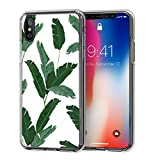 iPhone X Case Clear with Design, Swees Designer Shockproof TPU Bumper Protective Cases, Art Collection Pattern Cover for iPhone X Edition / iPhone 10 Girls Women Men, Banana Leaves