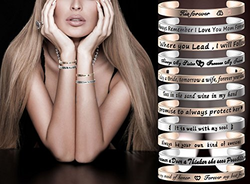 FEELMEM Stepdaughter Bangle DNA Doesn't Make You Family Love Does Cuff Bangle Bracelet,Family Jewelry Gift for Adopted Child Step Child Stepdaughter (DNA Doesn't.-Silver) by FEELMEM (Image #5)