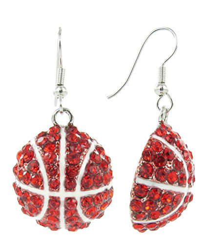 Basketball Dangle Fish Hook Earrings - Red Crystal with White Enamel Stripes (Houston Rockets Earring)
