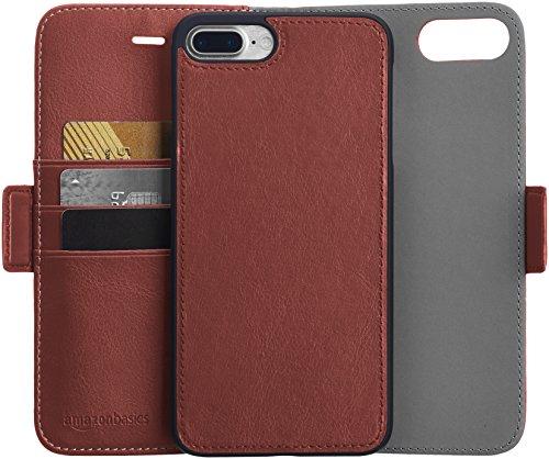 AmazonBasics iPhone 8 Plus / 7 Plus PU Leather Wallet Detachable Case, Dark Brown