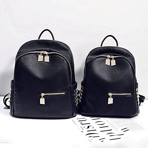 Mode MSZYZ Noir Sac étudiants et Les similicuir Cuir Leisurebackpack Simples PU Femelle dOwnw4