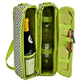 Picnic at Ascot Deluxe Insulated Wine Tote With 2 Wine Glasses, Granite Grey/Green