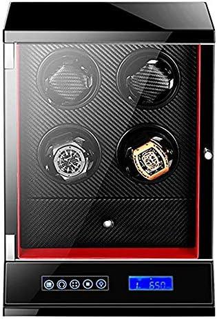 正確な時計ワインダー、12の回転モード静かなモーターレザーディスプレイボックス付き4つの収納スペース防塵ボックス-black