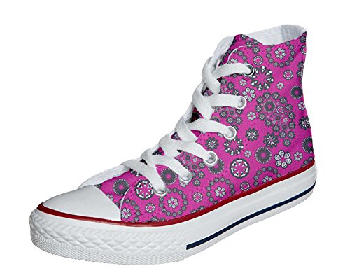 Converse All Star personalisierte Schuhe (Custom Produkt) Hot Pink Paysley