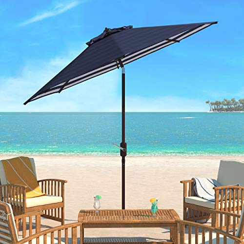 Safavieh PAT8007A Collection Athens Navy and White Inside Out Striped 9Ft Crank Outdoor Auto Tilt Umbrella