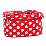 Designer Inspired Quilted Polka Dot Cosmetic Case Red/White, Bags Central