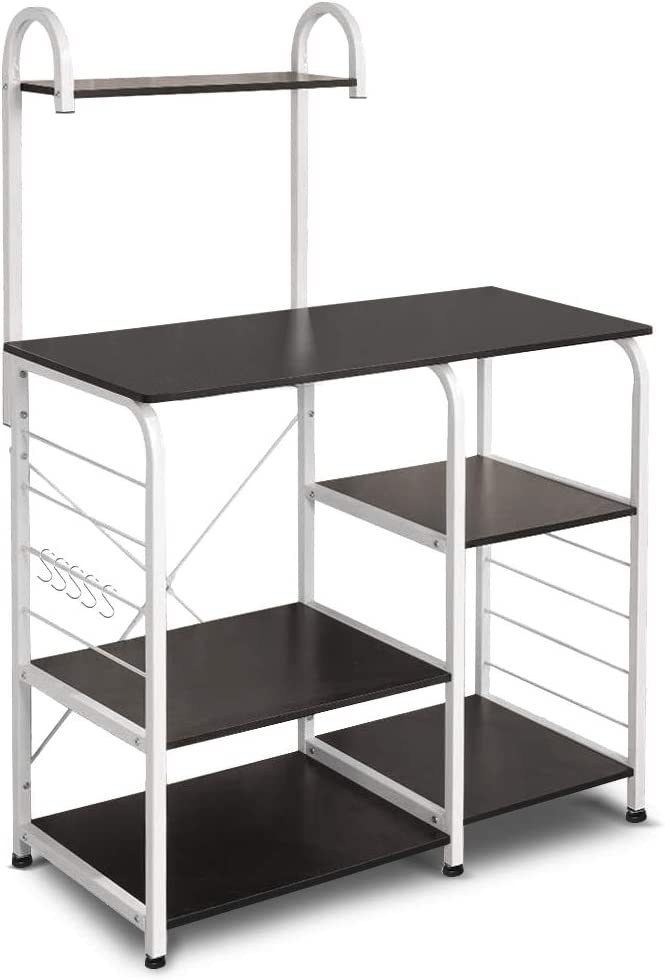"Vanspace Kitchen Baker's Rack Utility Storage Shelf 35.5"" Microwave Stand 4-Tier+3-Tier Shelf for Spice Rack Organizer Workstation with 5 Hooks (Dark Brown)"