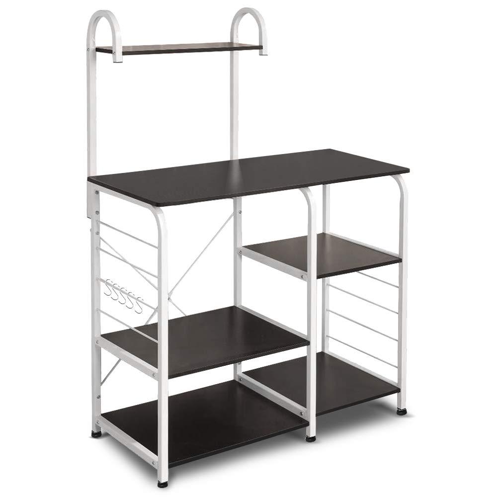 Vanspace Kitchen Baker's Rack Utility Storage Shelf 35.5'' Microwave Stand 4-Tier+3-Tier Shelf for Spice Rack Organizer Workstation with 5 Hooks (Dark Brown) by Vanspace