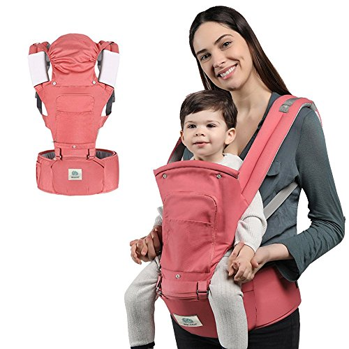 Ergonomic Baby Hip Seat Carrier, 6-in-1 Infant and Toddler Soft Baby Carrier for All Shapes and Seasons,Baby Holder by BELOPO, Pink